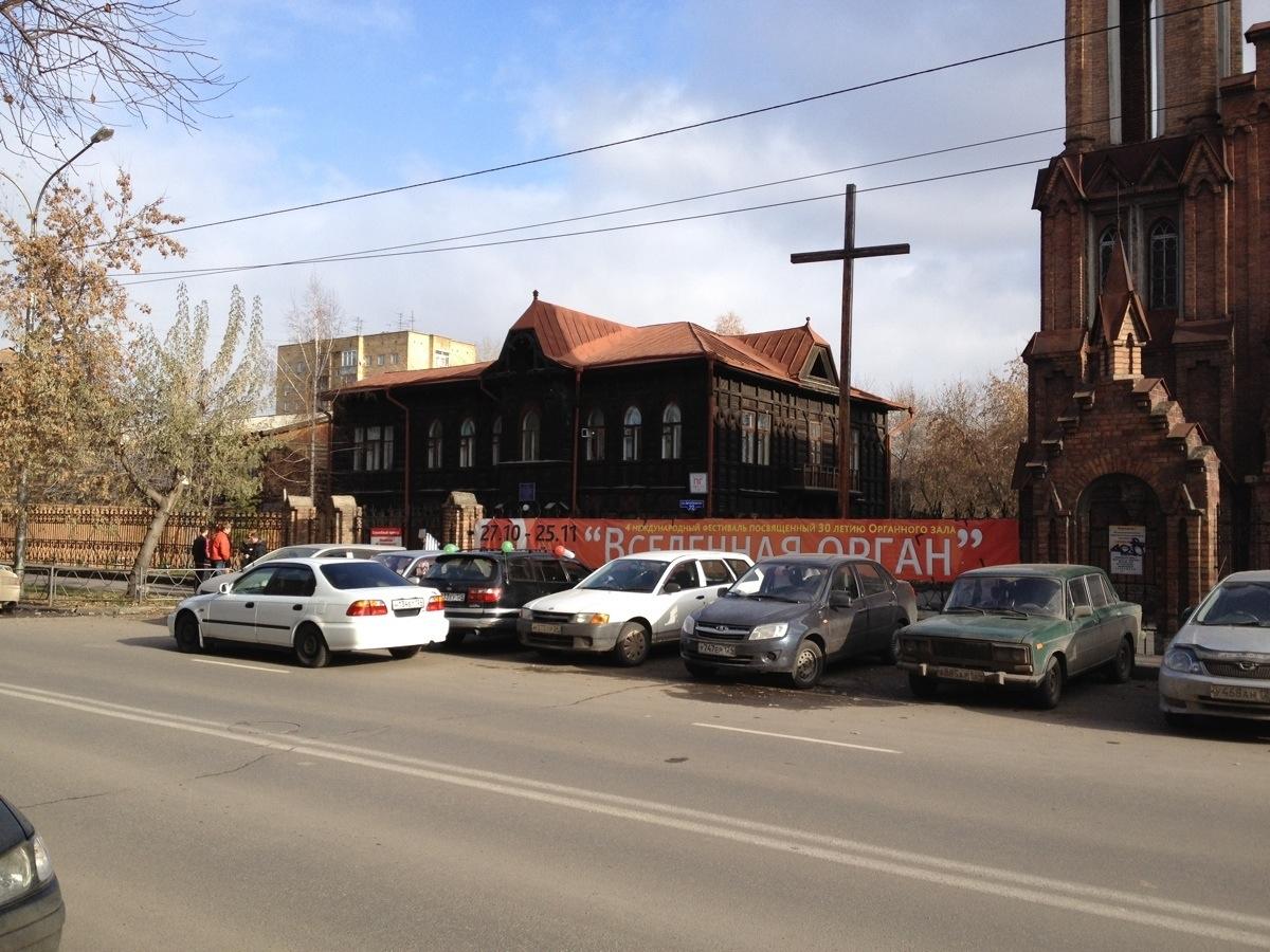 Traditionele houten bebouwing in Krasnoyarsk