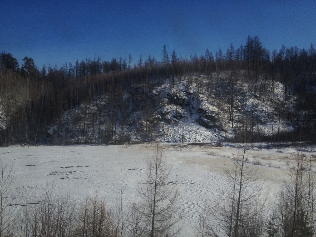 Landschap van Oost Siberie overdag