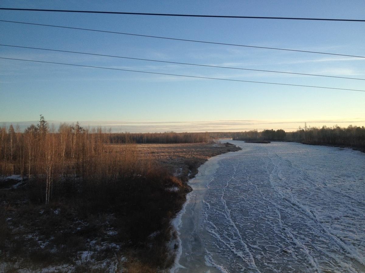 Frozen River East Siberia near Alonka