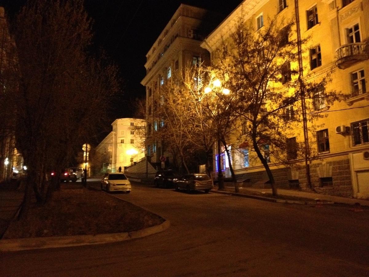 Komsomolskaya Street in Khabarovsk by night